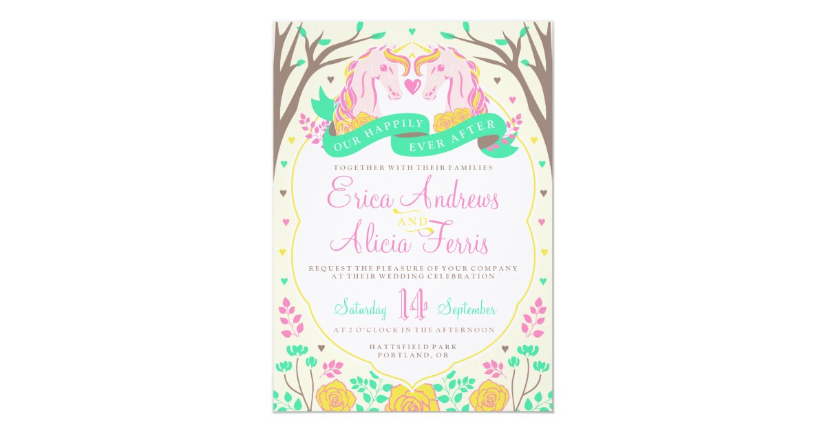 Happily Ever After Wedding Invitations: Happily Ever After Unicorn Wedding Invitation
