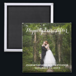 "Happily Ever After Wedding Favor Photo Magnet<br><div class=""desc"">A lovely keepsake for your wedding guests,  a photo portrait of the happy couple framed with ""Happily Ever After"" or the text of your choice,  as well as bride and groom's names and wedding date.</div>"