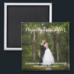 """Happily Ever After Wedding Favor Photo Magnet<br><div class=""""desc"""">A lovely keepsake for your wedding guests,  a photo portrait of the happy couple framed with &quot;Happily Ever After&quot; or the text of your choice,  as well as bride and groom&#39;s names and wedding date.</div>"""