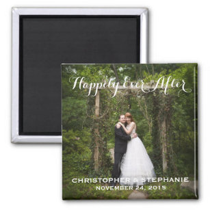 Hily Ever After Wedding Favor Photo Magnet
