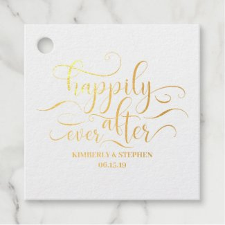 Happily Ever After Wedding Foil Favor Tags