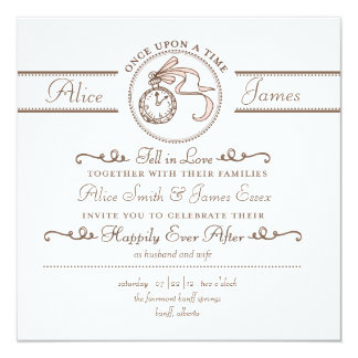 """Happily Ever After Wedding Invitation 5.25"""" Square Invitation Card"""