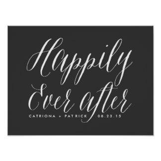 Happily Ever After Wedding Poster | Grey