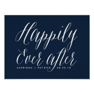 Happily Ever After Wedding Poster | Navy