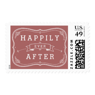 Happily Ever After Wedding Vintage Scroll Postage