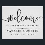 "Happily Ever After | Wedding Welcome Sign<br><div class=""desc"">Welcome guests to your wedding with our sweetly chic poster,  available in several sizes. Design features black typography on crisp white with &quot;welcome&quot; at the top in elegant handwritten calligraphy script,  and &quot;... to our happily ever after&quot; and your names and wedding date beneath.</div>"