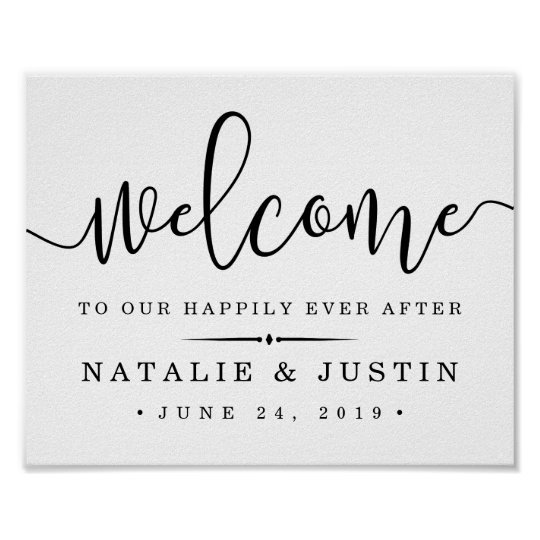 happily ever after wedding welcome sign zazzle com