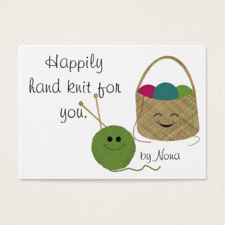 Happily Hand Knit Hang Tag
