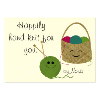 Happily Hand Knit Hang Tag Large Business Card