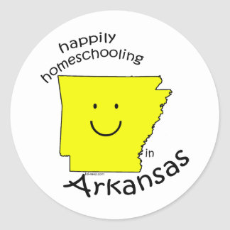 Happily Homeschooling in Arkansas Classic Round Sticker