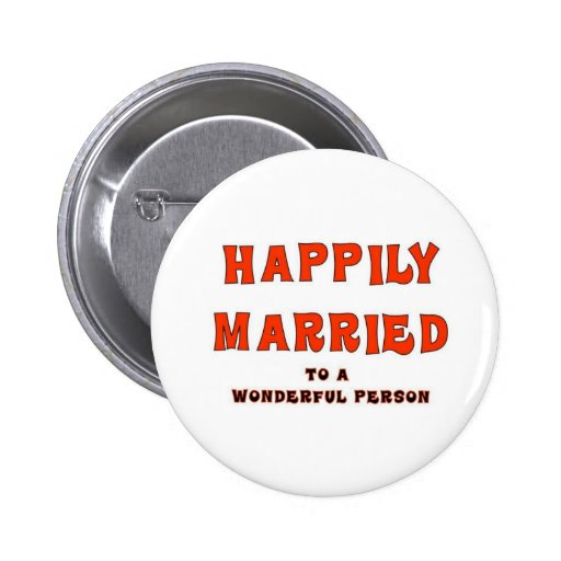 HAPPILY MARRIED 2 INCH ROUND BUTTON