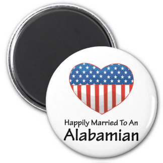 Happily Married Alabamian 2 Inch Round Magnet