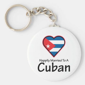 Happily Married Cuban Basic Round Button Keychain