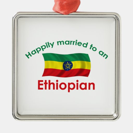 Happily Married Ethiopian Square Metal Christmas Ornament