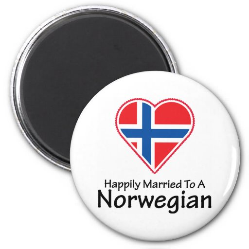 Happily Married Norwegian 2 Inch Round Magnet