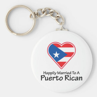 Happily Married Puerto Rican Basic Round Button Keychain