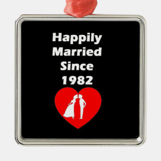 Happily Married Since 1982 Metal Ornament