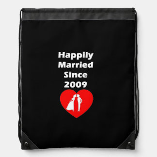 Happily Married Since 2009 Drawstring Bag