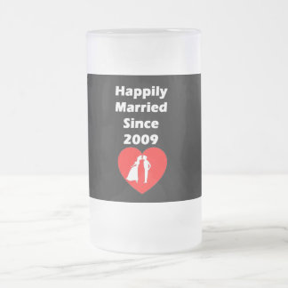 Happily Married Since 2009 Frosted Glass Beer Mug