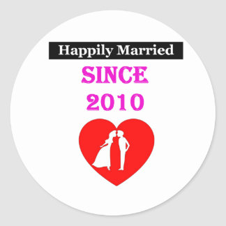 Happily Married Since 2010 Classic Round Sticker