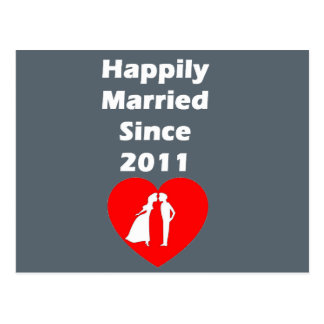 Happily Married Since 2011 Postcard