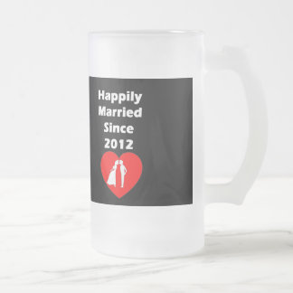 Happily Married Since 2012 Frosted Glass Beer Mug
