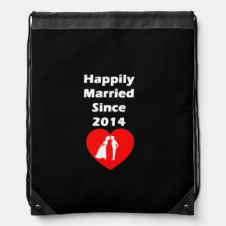 Happily Married Since 2014 Drawstring Bag