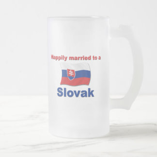 Happily Married Slovak Frosted Glass Beer Mug