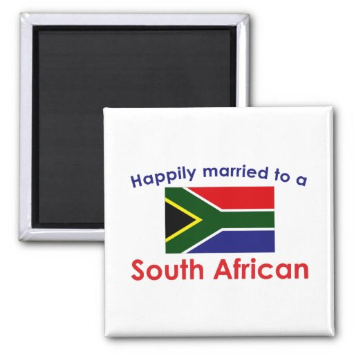 Happily Married South African 2 Inch Square Magnet