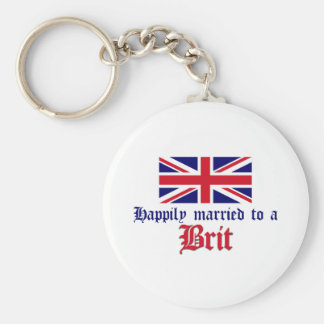 Happily Married To A Brit Basic Round Button Keychain