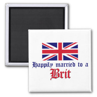 Happily Married To A Brit 2 Inch Square Magnet
