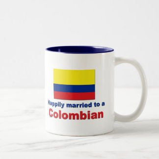 Happily married to a Colombian Two-Tone Coffee Mug
