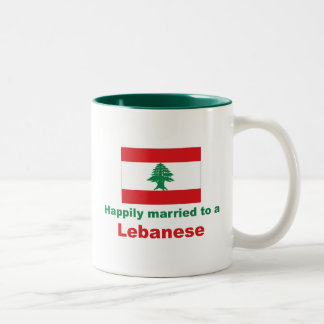 Happily Married To A Lebanese Two-Tone Coffee Mug