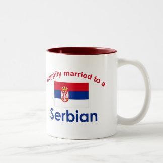 Happily Married to a Serbian 2 Two-Tone Coffee Mug