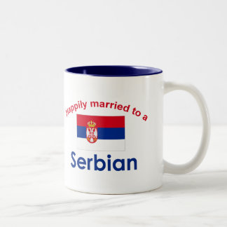 Happily Married to a Serbian 2 Two-Tone Coffee Mug