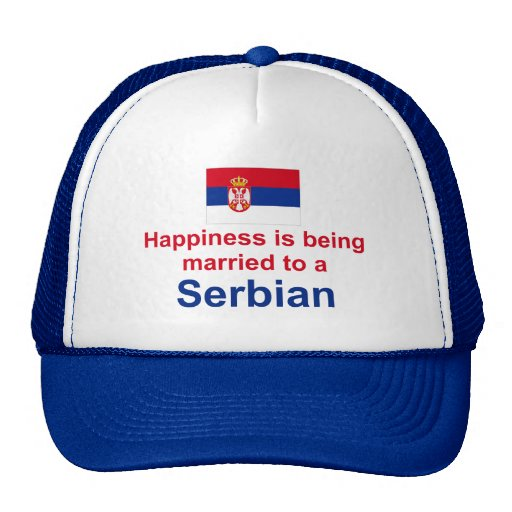 Happily Married To A Serbian Gifts Mesh Hat