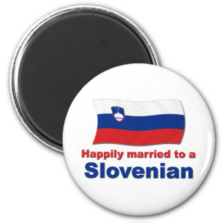 Happily Married To A Slovenian 2 Inch Round Magnet