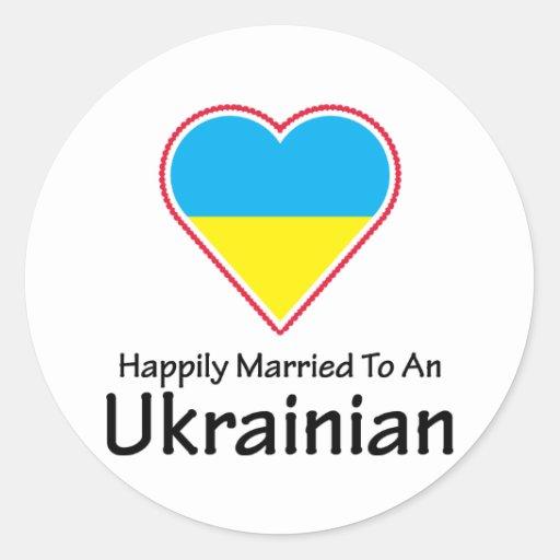 Happily Married Ukrainian Round Stickers