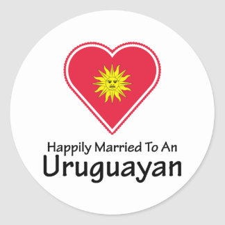 Happily Married Uruguayan Classic Round Sticker