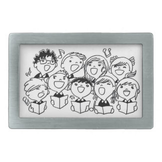 Happily Singing Children Rectangular Belt Buckle