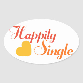 Happily SIngle Oval Sticker