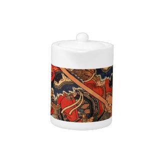 Happinata Koju on a rearing horse Utagawa Kuniyosh Teapot