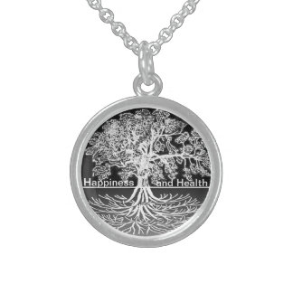 Happiness and Health Sterling Silver Necklace
