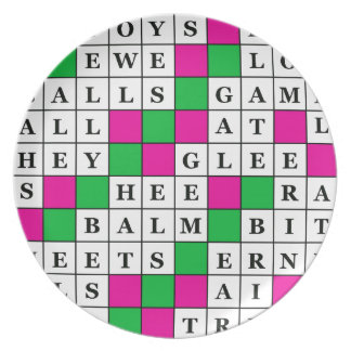 Happiness and Luck Crossword Dinner Plate
