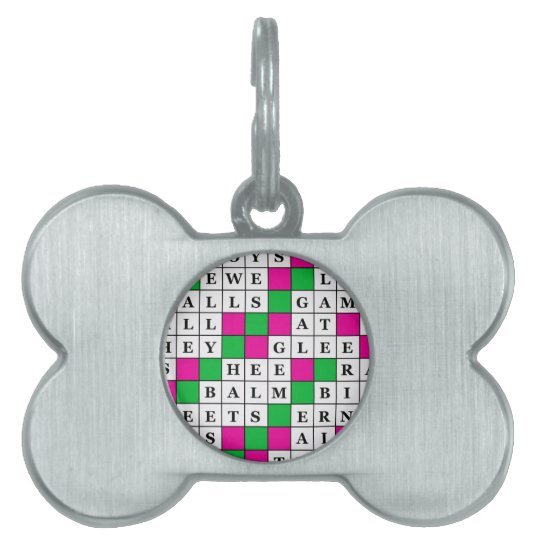 Happiness and Luck Crossword Pet ID Tag