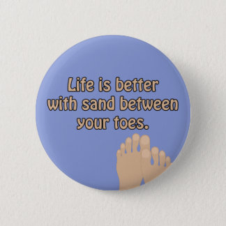 Happiness Beach Sand Toes Ocean Blue Button