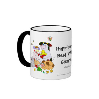 Happiness... Best When Shared. Ringer Coffee Mug