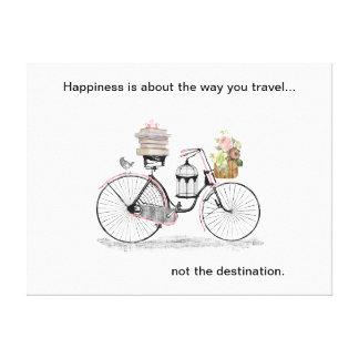 Happiness bike travel canvas print
