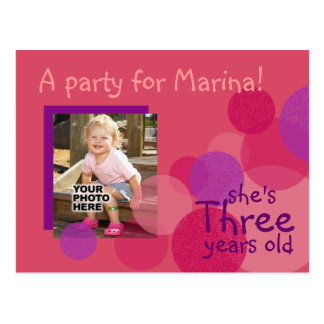 Happiness Birthday Party Invitation (rose) Postcard
