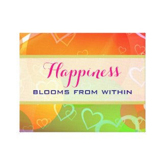 Happiness Blooms From Within -  Colorful Hearts Canvas Print